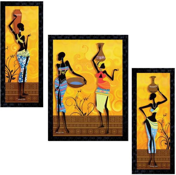 Janki Online Set of African Women Modern Art Glass Framed Wall Painting for Home Office and Home Dedcor Canvas 14 inch x 11 inch Painting