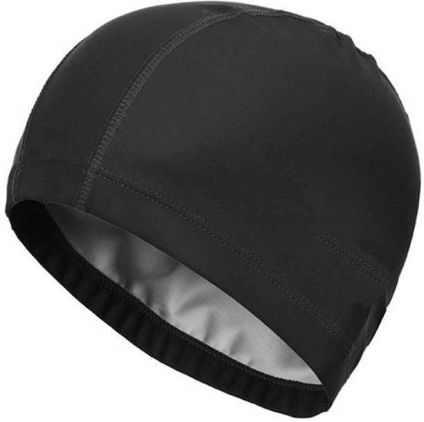 DALUCI Elastic Waterproof PU Fabric Protect Ears Long Hair Sports Swim Pool Hat for Men & Women Adults Swimming Cap