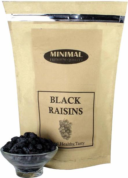 Minimal Dried Black Raisins/Black Kishmish with Seed, 1 Kg Raisins