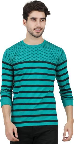 JUGULAR Striped Men Round Neck Green T-Shirt