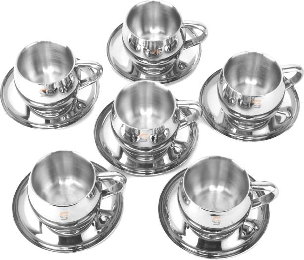 S&S Pack of 6 Stainless Steel Premium Quality Stainless Steel Double Walled CUP & Saucer ,Mirror Polish Outer