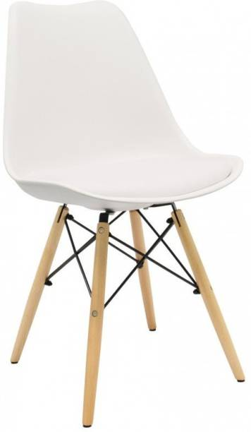 Finch Fox Eames Replica Nordan DSW Stylish & Modern Furniture Plastic Chairs with Cushion for Cafeteria Seating/Dining Chair/Side Chair/Kitchen/Restaurants/Hotels (White Color) Plastic Dining Chair
