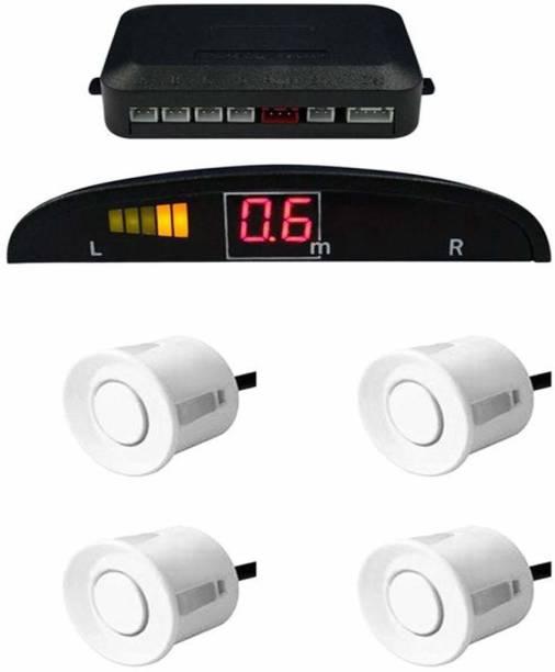 fabtec White LED Display Car 4 Parking Sensor Reverse Backup Radar Sound Alarm System Kit uiversal White LED Display Car 4 Parking Sensor Reverse Backup Radar Sound Alarm System Universal Parking Sensor