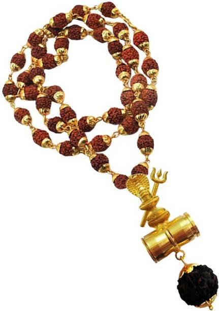 Rich & Famous Damru Rudraksha Pendant With Gold Cap Rudraksha Mala Gold-plated Brass, Wood Pendant
