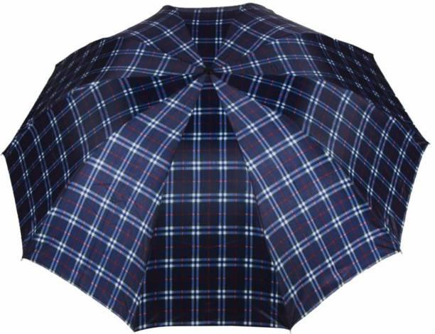 KEKEMI UMB016F 3 Fold Check Windproof Travel Umbrella