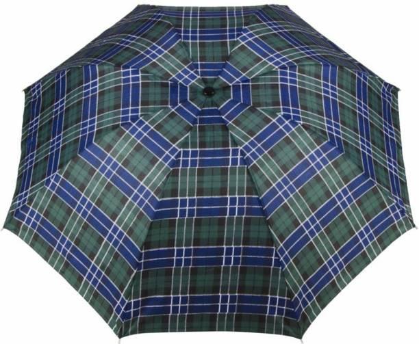 KEKEMI UMB016B 3 Fold Check Windproof Travel Umbrella