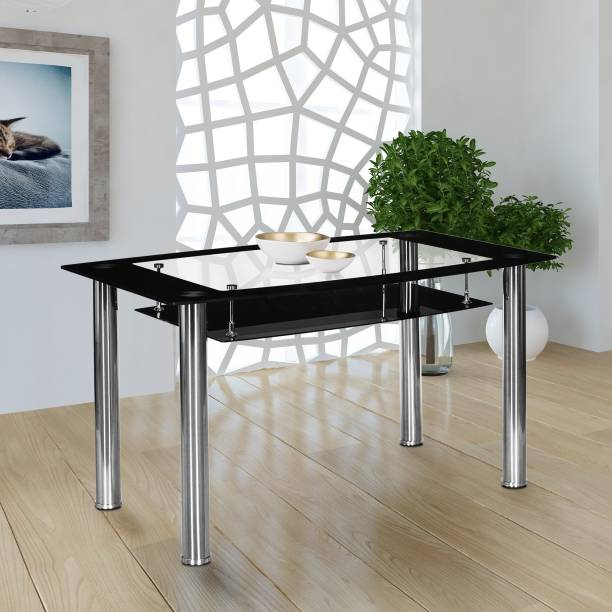 Nilkamal Jasmine Glass 4 Seater Dining Table