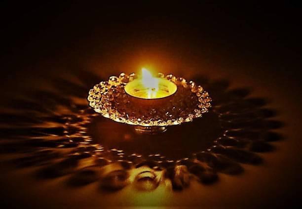 Collectible India Crystal Akhand Diya Oil Puja Lamp Brass Table Diya