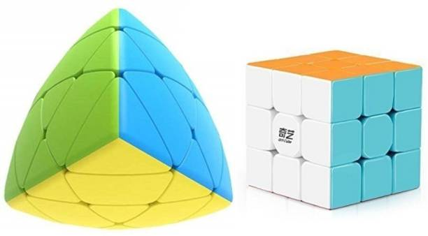 AGAMI Stickerless QIYI 3x3 Warrior W & QIYI Mastermorphix High Speed 3D Puzzle Cube