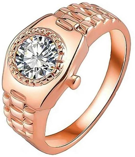 d362dfe5a MYKI Super Stylish Watch Type Ring For Women & Girls Stainless Steel Swarovski  Crystal Gold Plated