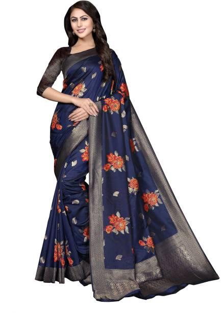 Sanku Fashion Self Design, Embroidered, Woven Kanjivaram Silk Blend, Cotton Silk Saree