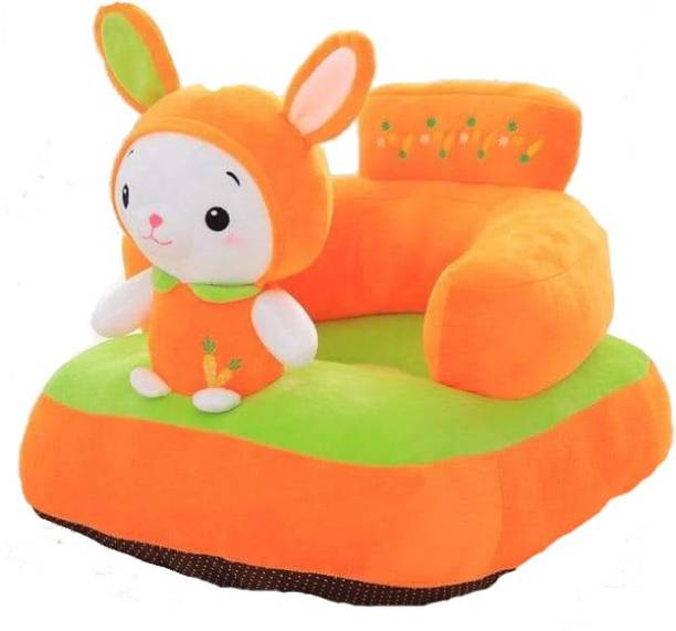 AVS Rabbit Shape Soft Plush Cushion Baby Sofa Seat or Rocking Chair for Kids - 45 cm Orange Fabric Sofa