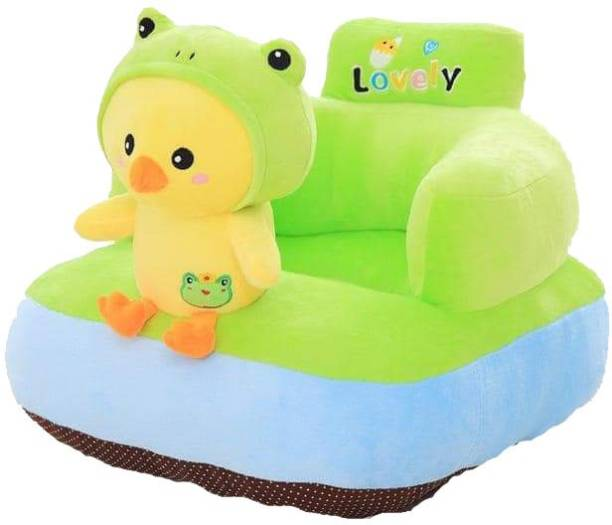 AVS Chick Shape Soft Plush Cushion Baby Sofa Seat or Rocking Chair for Kids - 45 cm Green Fabric Sofa