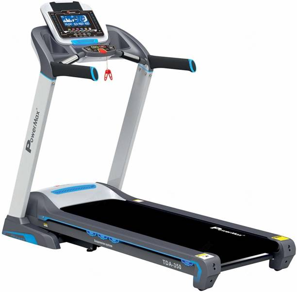 Powermax Fitness TDA-350 (3.0 HP) 7inch Blue LCD Display with 400m Track UI & 18 Level Auto Incline, Motorized Treadmill