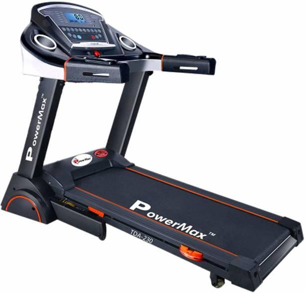 Powermax Fitness TDA-230 (2.0 HP), Semi-Auto Lubrication, Motorized Treadmill with 15 level Auto Inclination Treadmill
