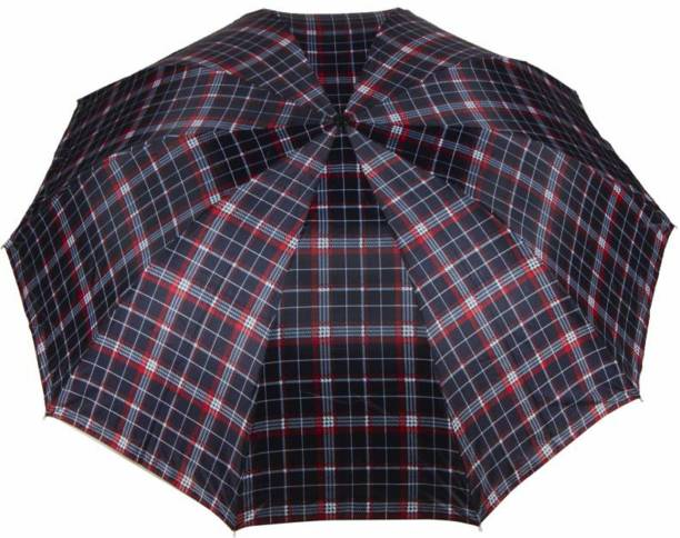 KEKEMI UMB016C 3 Fold Check Windproof Travel Umbrella