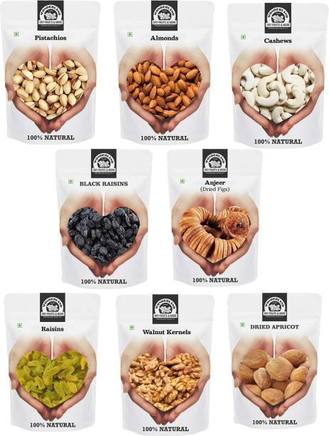 WONDERLAND Foods Dry Fruits Combo Pack with Pistachios, Almond, Cashew, Black Raisins, Anjeer, Golden Raisins,Walnut Kernel, Dried Apricot