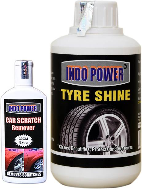 INDOPOWER TYRE SHINER 250ml+ Scratch Remover 100gm. Combo