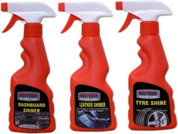 INDOPOWER EXTRA POWER50-LEATHER SHINER SPRAY 250ml.+DASHBOARD SHINER SPRAY 250ml.+TYRE SHINER SPRAY 250ml. 750 g Wheel Tire Cleaner