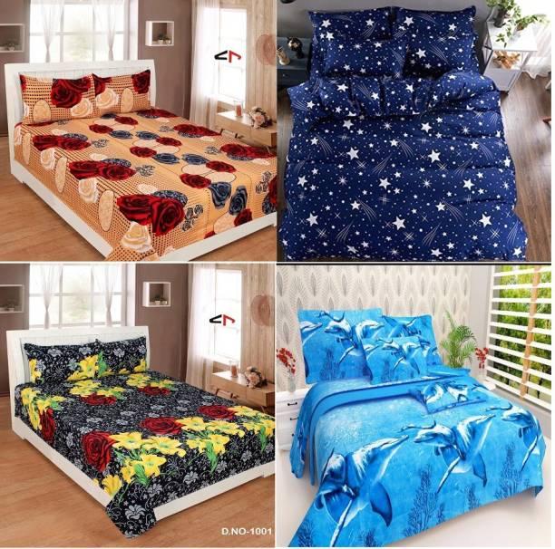 Tuteja Home Decors 144 TC Cotton Double 3D Printed Bedsheet