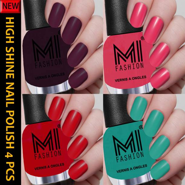 MI FASHION New Collection High Shine Long Wearing Nail Polishes Combo 12ml each Combo No-01 Maroon Wine,Neon Pink,Red,Sea Green