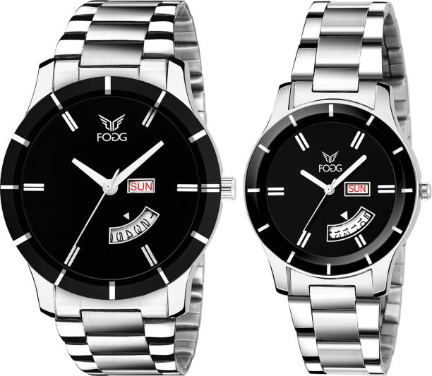 Fogg 5083-BK Day and Date Analog Watch  - For Couple