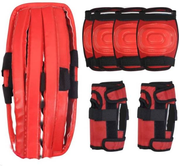 UnyBuy Skating Guard Kit+Cycling Safety Gear Age 6-16 Years| 7 in 1-RED Skating Guard Combo