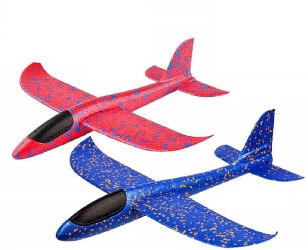 FunBlast Airplane Toy Set of 2 Throwing Foam Plane, Dual Flight Mode, Aeroplane Gliders, Flying Aircraft,