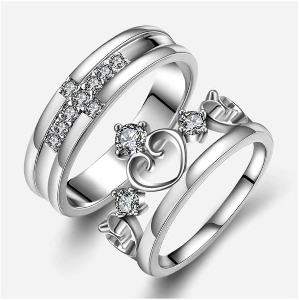 69fabb000b Men Style King Crown Queen And Cross Adjustable 925 Sterling Silver Plated  Crystal Proposal Stainless Steel