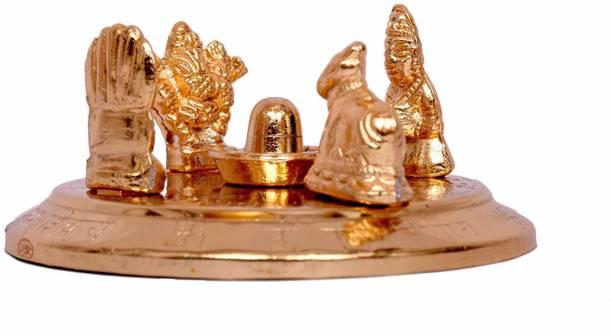 RUDRA DIVINE Gold Plated Shiv Parivar With Shivling Decorative Showpiece  -  8 cm