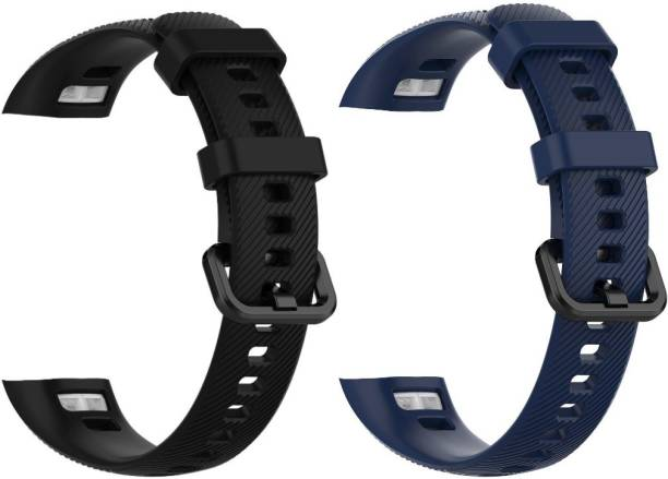 Epaal TPU Silicon Band Strap Blue & Black Compatible with Honor Band 4/5 Smart Watch Strap Smart Watch Strap