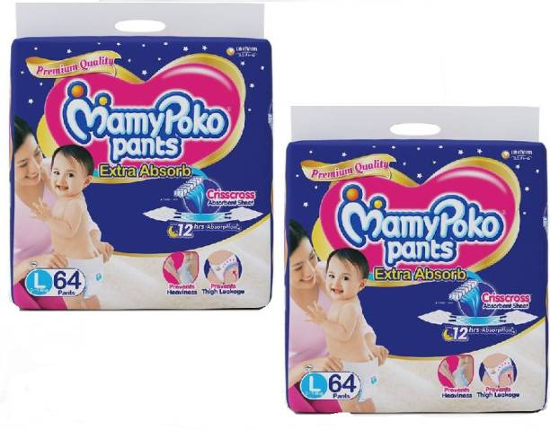 MamyPoko Pant type Extra Absorb Large Size Diaper - L 64 x 2 Set (128 count) - L
