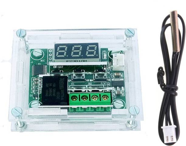 Themisto Clear Acrylic Case Shell Housing With W1209 Digital LED DC 12V Temp Thermostat Temperature Control Switch Module Controller Board Temperature Sensor and Controller Electronic Hobby Kit