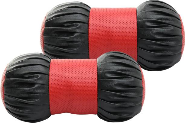 Auto Hub Red, Black Leatherite Car Pillow Cushion for Universal For Car