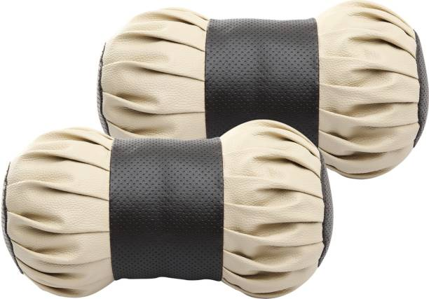 Auto Hub Beige, Black Leatherite Car Pillow Cushion for Universal For Car
