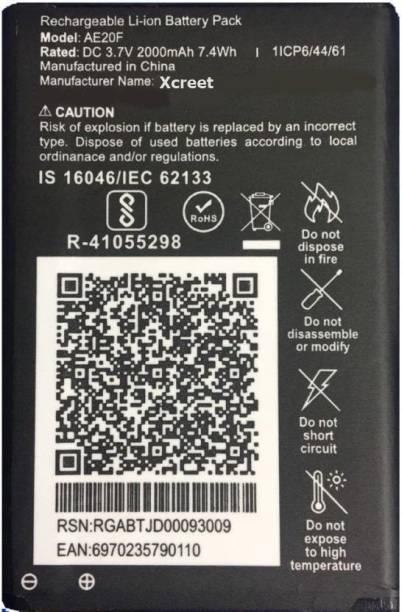 XCREET Mobile Battery For  JIO All Keypad Mobile Battery and Also for LYF F30C (3.7V/2000mAh) Model No: AE-20F/ RE-20F/ B-R2000 and F-30C