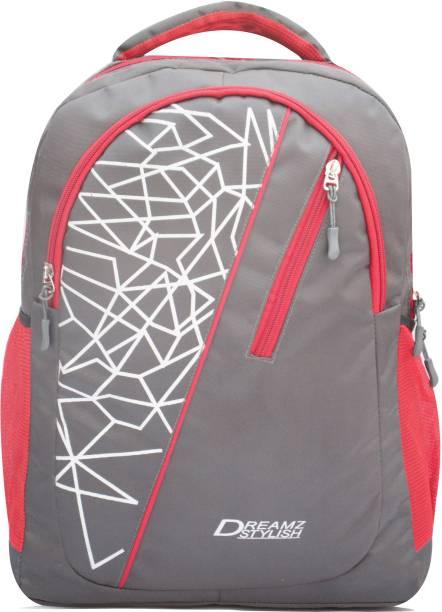 DREAMZ STYLISH Grey&Red combination 0786 Waterproof School Bag