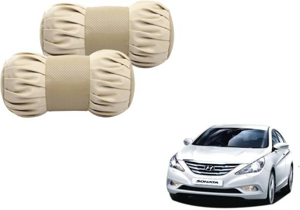 Mockhe Beige Cotton, Leatherite Car Pillow Cushion for Hyundai