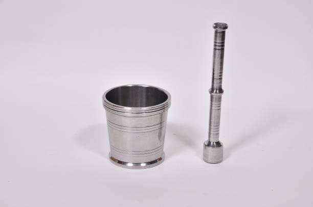 AAROO ENTERPRISE Heavy Gauge Aluminium Okhli / Kundi / Kharad / Spice Masher / Spice Mixer / Musal / Mortar and Pestle Set / Spice Grinder Masher / Khal Dasta Ural Set/ Kitchen Khalbatta / Simple Crushing and Grinding Pestle / Spice Mixer / Medicine Grinder Masher Export Quality Aluminium Masher (Aluminium, Pack of 1) (Size - 2) Aluminium Masher
