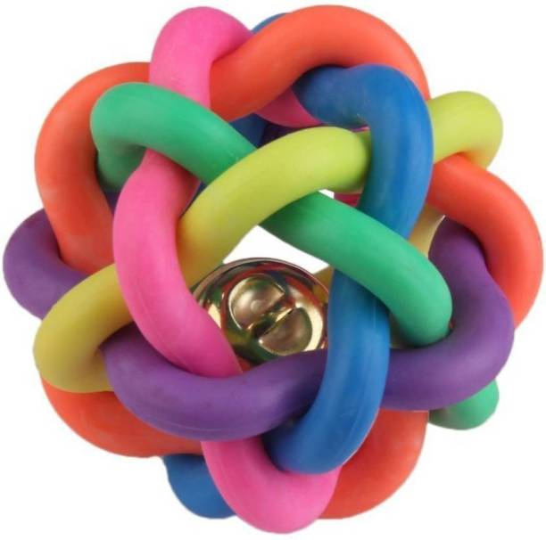 FOODIE PUPPIES Small Play Woven Balls With Inner Bell Colorful Squeaky Rainbow Rubber Fetch Toy For Dog & Cat