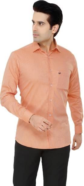 DONZELL Men Self Design Casual Orange Shirt
