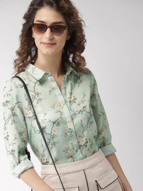 MAST & HARBOUR Women Printed Casual Light Green Shirt
