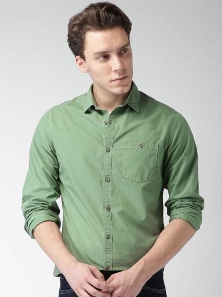 MAST & HARBOUR Men Solid Casual Green Shirt