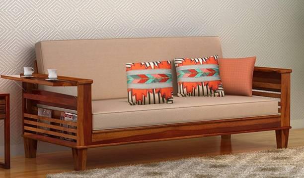 Suncrown Furniture Sheesham Wood Sofa Cum Bed for Living Room   Honey Finish Single Solid Wood Sofa Bed