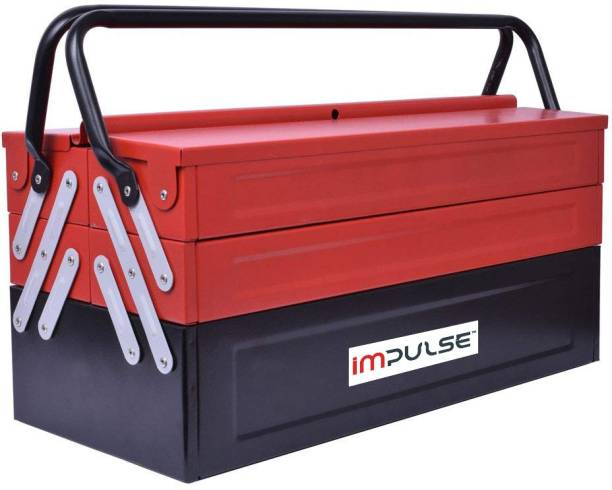 Impulse High Grade Metal Tool Box for Tools/Tool Kit Box for Home and Garage/Tool Box Without Tools-5 Compartment(Red & Black) Powder Coated Tool Box