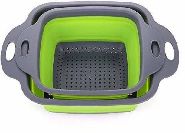 P-PLUS INTERNATIONAL 2 Pack Foldable Silicone Filter Baskets Collapsible Colander