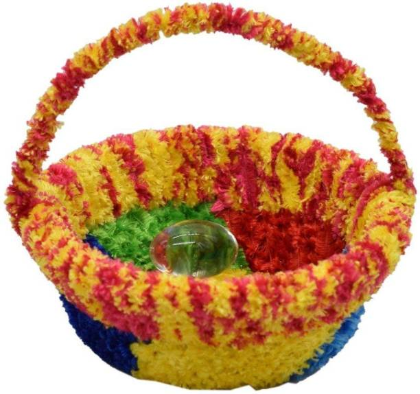 Urvi Creations Laddu Gopal, Thakurji, Krishana Bal Gopal Basket Laddu Gopal Accessories Plastic, Cotton Flower Basket