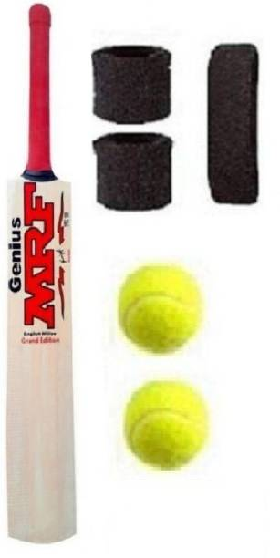 MRF POPULAR WILLOW BAT WITH TWO BALL AND HEAD &WRIST BAND Cricket Kit