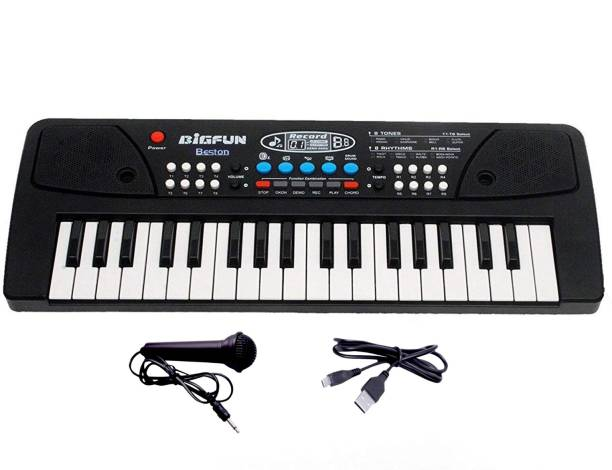 BESTON 37 Keys Piano Keyboard Toy with Microphone, USB Power Cable & Sound Recording Function Analog Portable Keyboard