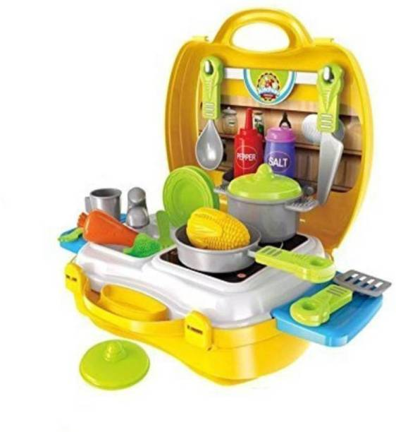 SQUICKLE Attractive Dream Kitchen Set Cooking Pretend Play Toys for Kids, Yellow (Yellow)